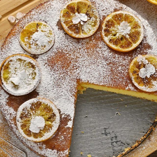 Pomarančovo – mandľový koláč